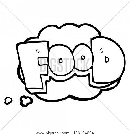 freehand drawn thought bubble cartoon word food