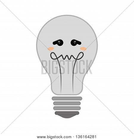 Thinking concept represented by Negative feeling on light bulb icon. isolated and flat illustration
