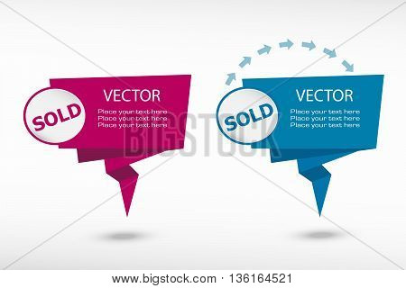 Sold Message On Origami Paper Speech Bubble Or Web Banner, Prints