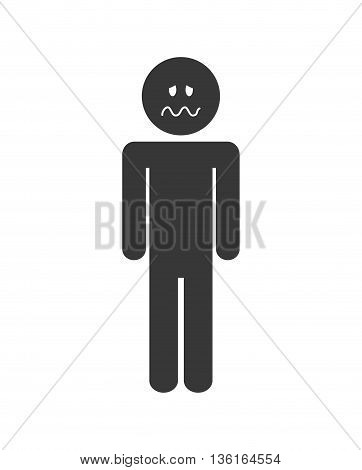 Thinking concept represented by pictogram with Negative feeling icon. isolated and flat illustration
