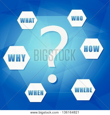 question sign and question words in hexagons over blue background, flat design, business concept, vector