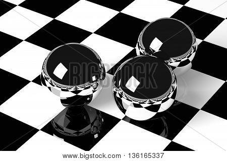 3D rendering shiny chrome balls on checkered floor.