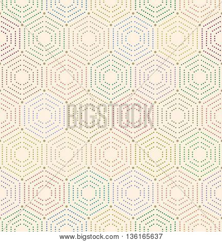 Geometric repeating colorful colored ornament with hexagonal dotted elements. Seamless abstract modern pattern