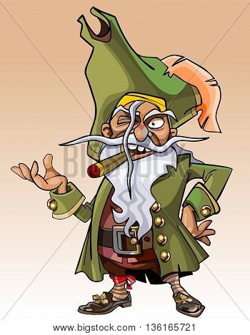 dwarf cartoon character pirate with a cigar in his mouth