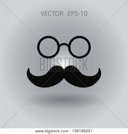 Flat long shadow Hipster retro style mustache and eyeglasses icon