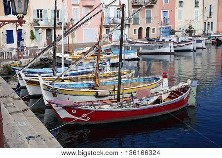 Martigues France - June 20 2016: The Old Harbor with Boats. Le Miroir Aux Oiseaux (Mirror Bird) Area