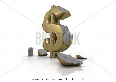 3d illustration of a battered golden Dollar Sign