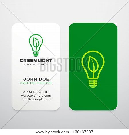 Green Light Vector Realistic Business Cards Template or Mock Up. Abstract Eco Light Bulb Concept. Lamp with a Leaf Symbol and Typography. Isolated.