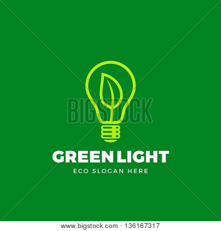 Vector Logo Template. Abstract Green or Eco Light Bulb Concept. Lamp with a Leaf Symbol and Typography. On Green Background.