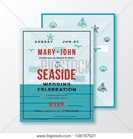 Sea Side Wedding Invitation Card or Ticket Template. Modern Typography and Nautical Symbols on Background. Red, Blue, Green, White Colors. Isolated.
