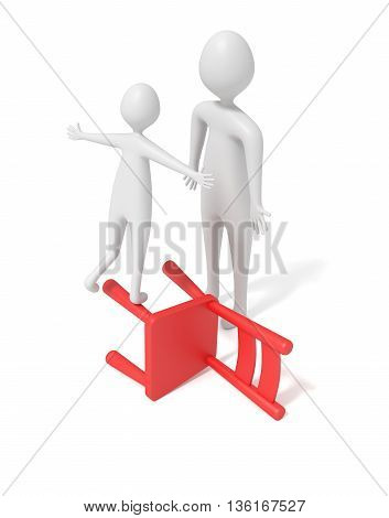 3d child balancing on a red wooden chair 3d illustration