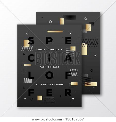 Special Offer Fashion Sale Poster, Card or Flyer Template. Modern Abstract Flat Swiss Style Background with Decorative Golden Elements and Minimal Typography. Black on Black. Soft Shadows. Isolated.