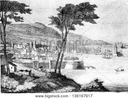 View of the city and the port of Barcelona, vintage engraved illustration. Magasin Pittoresque 1836.