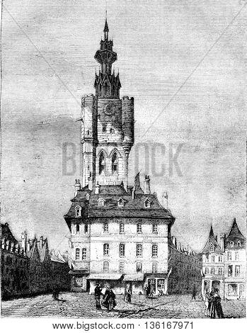 The Belfort has Bethune department of Pas de Calais, vintage engraved illustration. Magasin Pittoresque 1836.