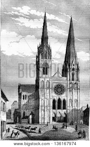 Chartres Cathedral, vintage engraved illustration. Magasin Pittoresque 1836.