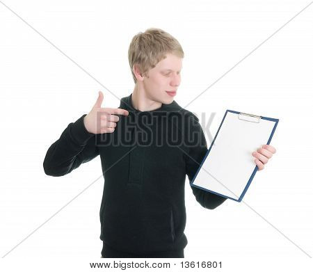 a young man holds a clipboard
