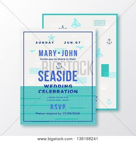 Sea Side Wedding Invitation Card or Ticket Template. Modern Typography and Nautical Symbols on Background. Green, Blue, White Colors. Soft Realistic Shadows. Isolated.
