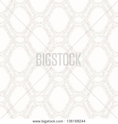 Seamless ornament. Modern geometric pattern with pink repeating dotted wavy lines
