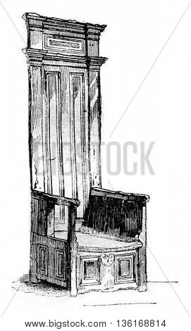 Moliere's chair, in Pezenas, vintage engraved illustration. Magasin Pittoresque 1836.