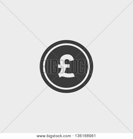 Money pound icon in a flat design in black color. Vector illustration eps10