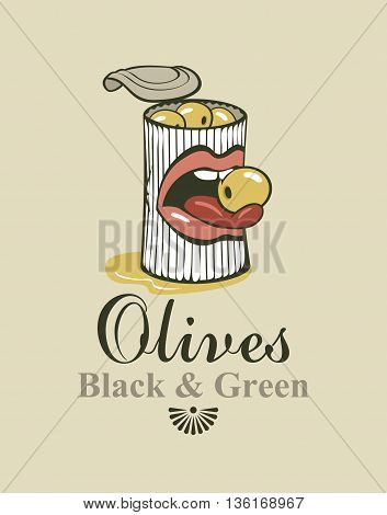 Conserve tin of black and green olives and mouth and tongue