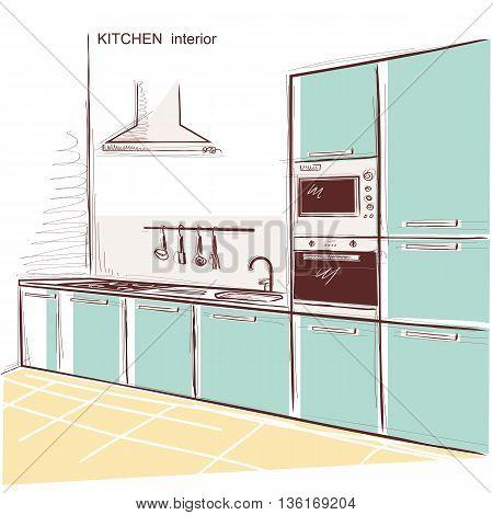 Kitchen Interior Room.vector Color Sketchy Illustration Background