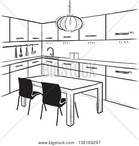 Modern Kitchen Room.vector Sketchy Illustration On White