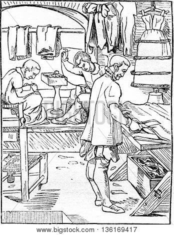 The tailor, vintage engraved illustration. Magasin Pittoresque 1836.