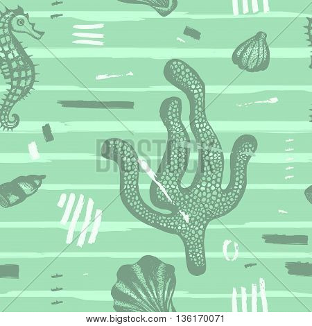 Modern seamless sea pattern. Abstract hand drawn background with brush strokes. Marine texture with coral seashells. Perfectly look on fabric wrapping textile. Vector illustration