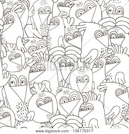 Seamless pattern with cute birds. Monochrome black and white texture with funny birds. Perfectly look on fabrictextilewebetc. Vector Illustration
