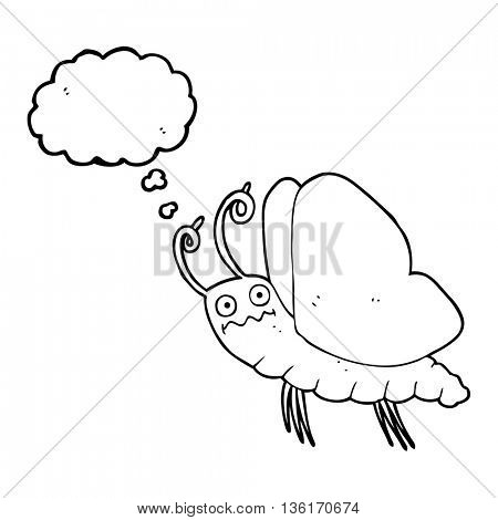 freehand drawn thought bubble cartoon funny butterfly