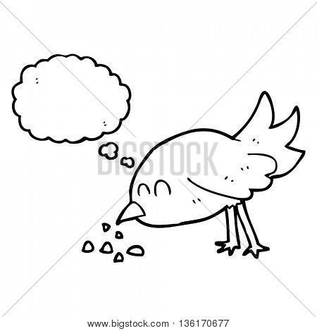 freehand drawn thought bubble cartoon bird pecking seeds