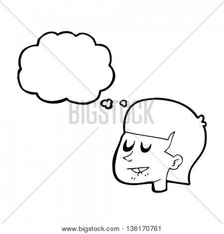 freehand drawn thought bubble cartoon man biting lip