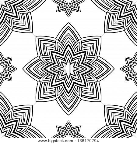 Seamless pattern of abstract mandala in the shape of star on a white background. Oriental ornament. Template for carpet shawl wallpaper textile.