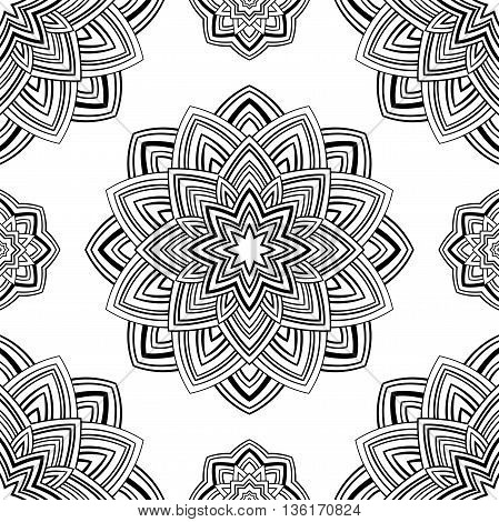 Seamless pattern of abstract mandala on a white background. Oriental ornament. Template for carpet shawl wallpaper embroidery.
