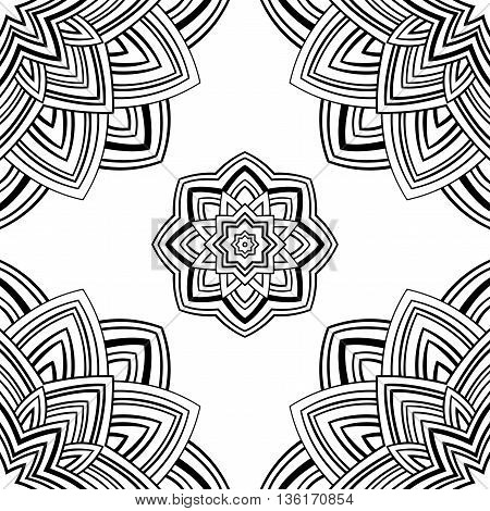 Seamless pattern of abstract mandala on a white background. Oriental ornament. Template for carpet shawl wallpaper textile.