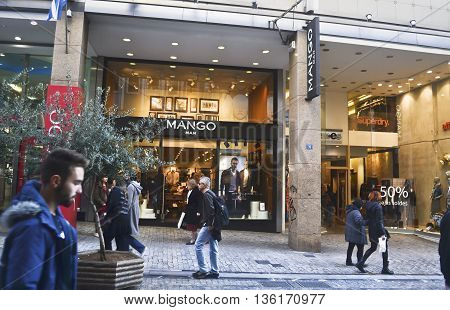 ERMOU ATHENS GREECE, MARCH 02 2016: Mango and other shops at Ermou street Athens Greece.