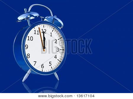 blue alarm clock illustration made in 3d