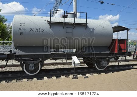 MOSCOW, RUSSIA - JUNE 23, 2016: The Museum of Railway Transport of the Moscow railroad cistern for transportation of petrol with a brake platform built in Germany in 1935