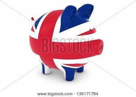 British Financial Concept - Uk Flag Piggy Bank 3D Illustration
