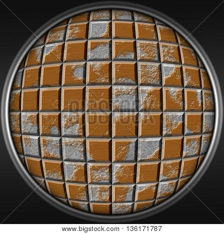 Abstract decorative metal brown sphere - square 3D pattern