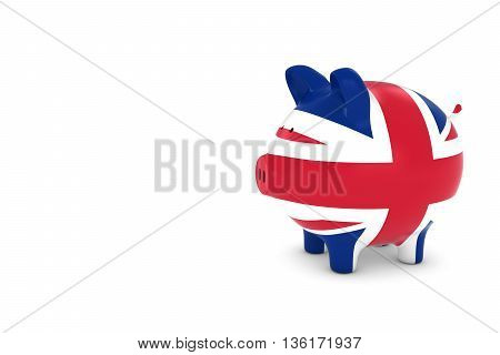 Uk Flag Piggy Bank With White Copy Space 3D Illustration
