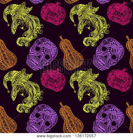 Seamless pattern with witch skill pumpkins light green pink lilac orange on black in Zen-tangle or Zen-doodle style for decoration flyers banners Post Card on celebrating Halloween holiday