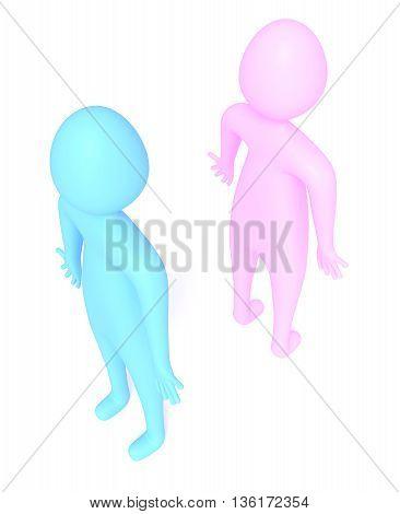 quarreling: relationship of blue and pink little men