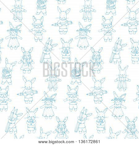 Monochrome seamless pattern with funny cartoon Bunnies. Hand-drawn illustration. Vector.
