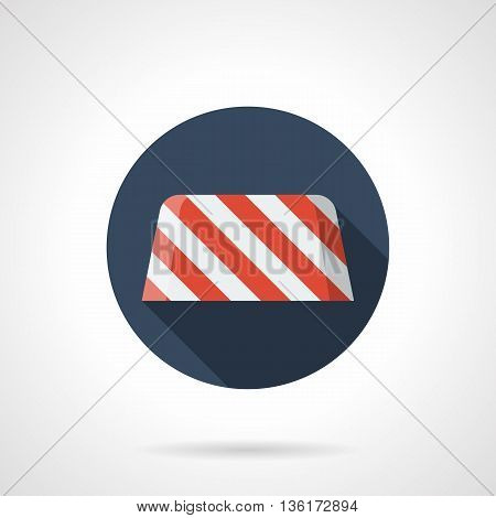 Red and white striped concrete road barrier. Border to prohibiting the entry at roadwork, construction site. Round flat color style vector icon.