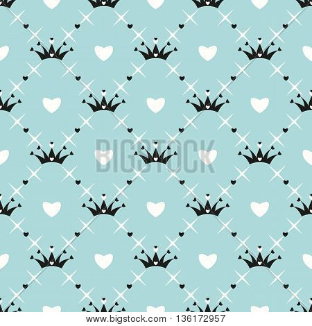 Seamless pattern with crown, heart and star