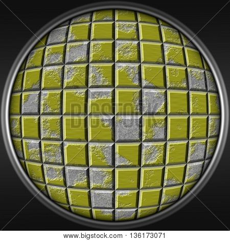 Abstract decorative metal yellow sphere - square 3D pattern