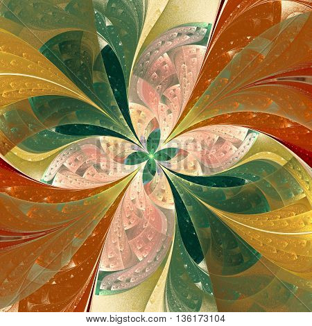 Beautiful diagonal fractal flower in stained-glass window style. Green and beige. Artwork for creative design art and entertainment.