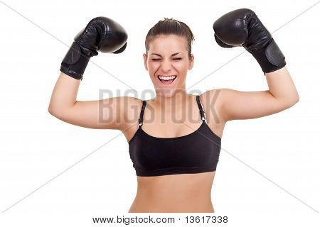 Young Boxer Woman As A Winner